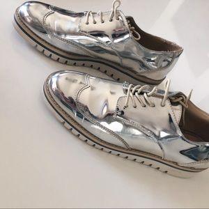 Zara Metallic Platform Oxfords
